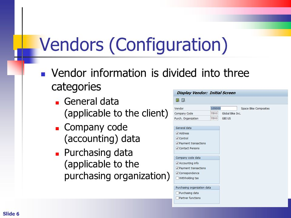 Vendors (Configuration)