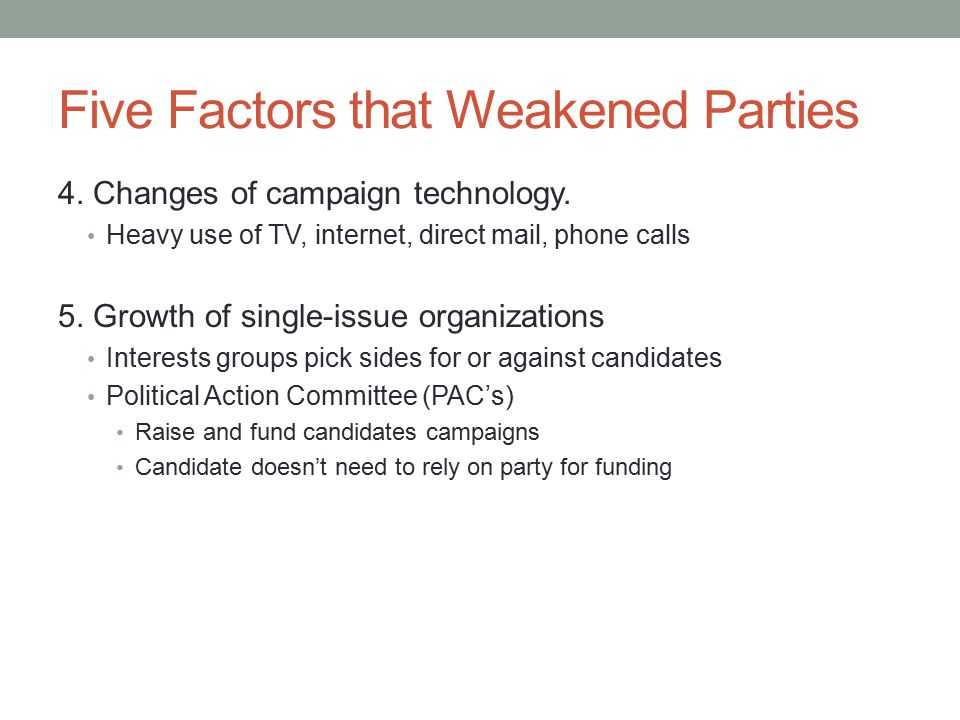 Five Factors that Weakened Parties