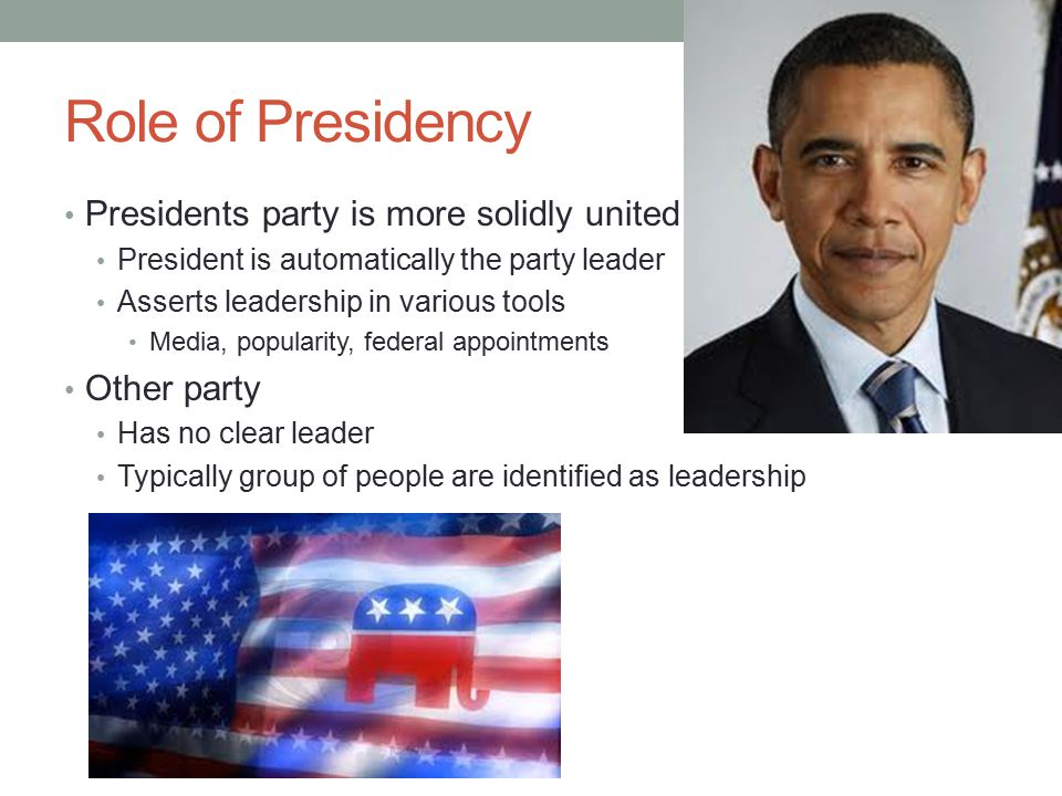 Role of Presidency Presidents party is more solidly united Other party