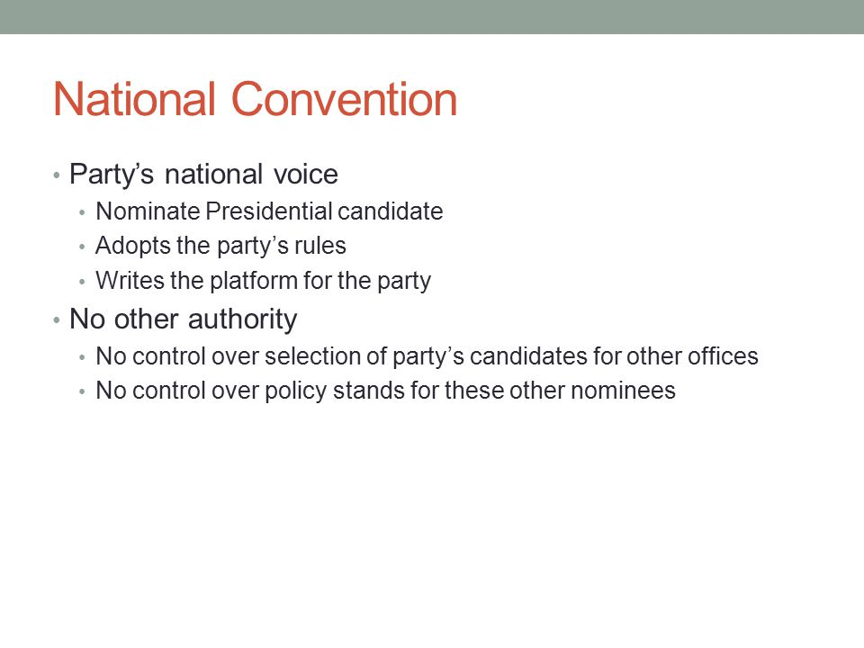 National Convention Party's national voice No other authority