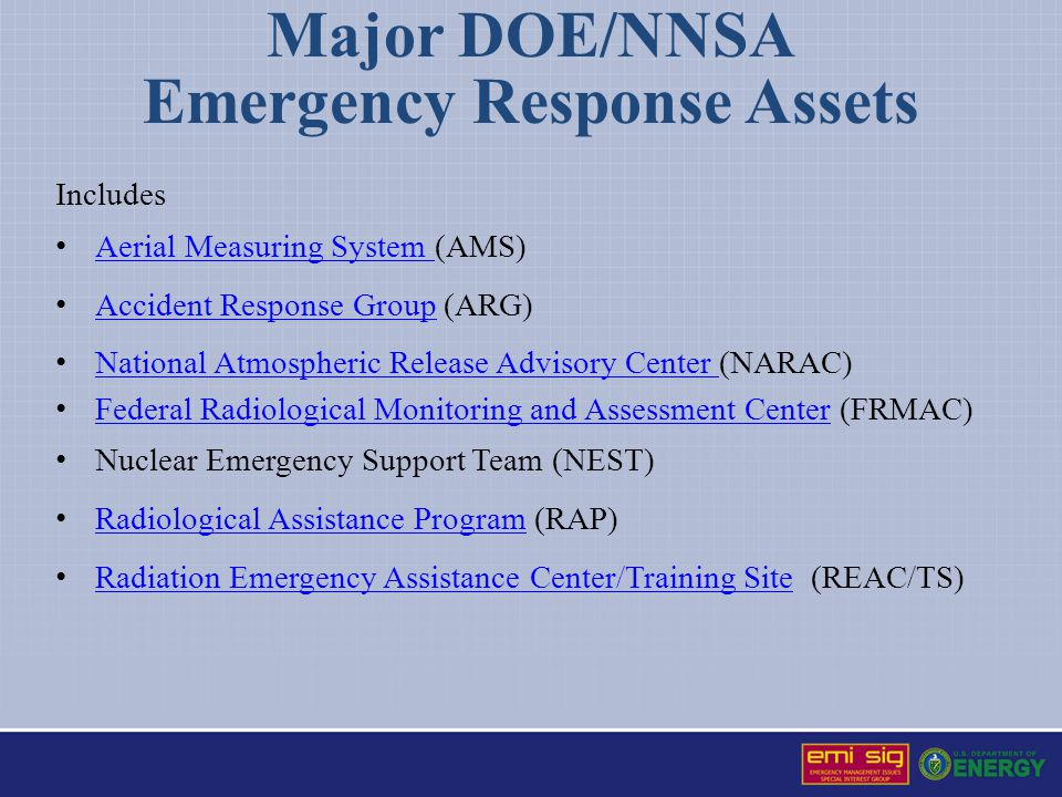 Major DOE/NNSA Emergency Response Assets