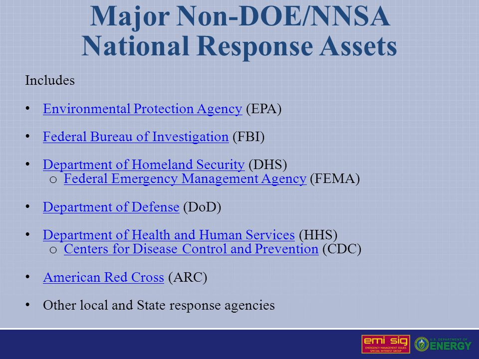 Major Non-DOE/NNSA National Response Assets