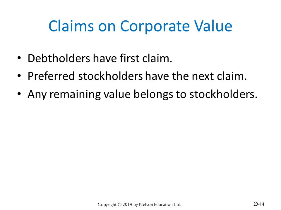 Claims on Corporate Value