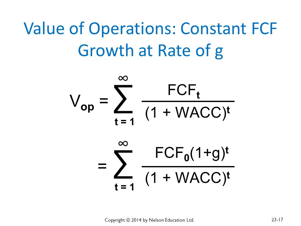 Value of Operations: Constant FCF Growth at Rate of g