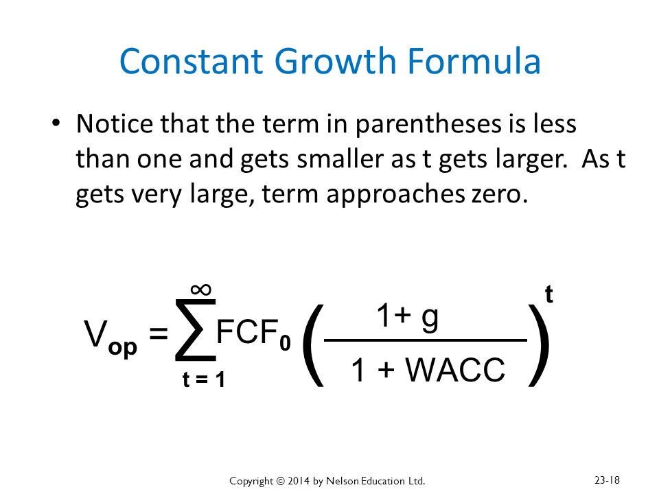 Constant Growth Formula