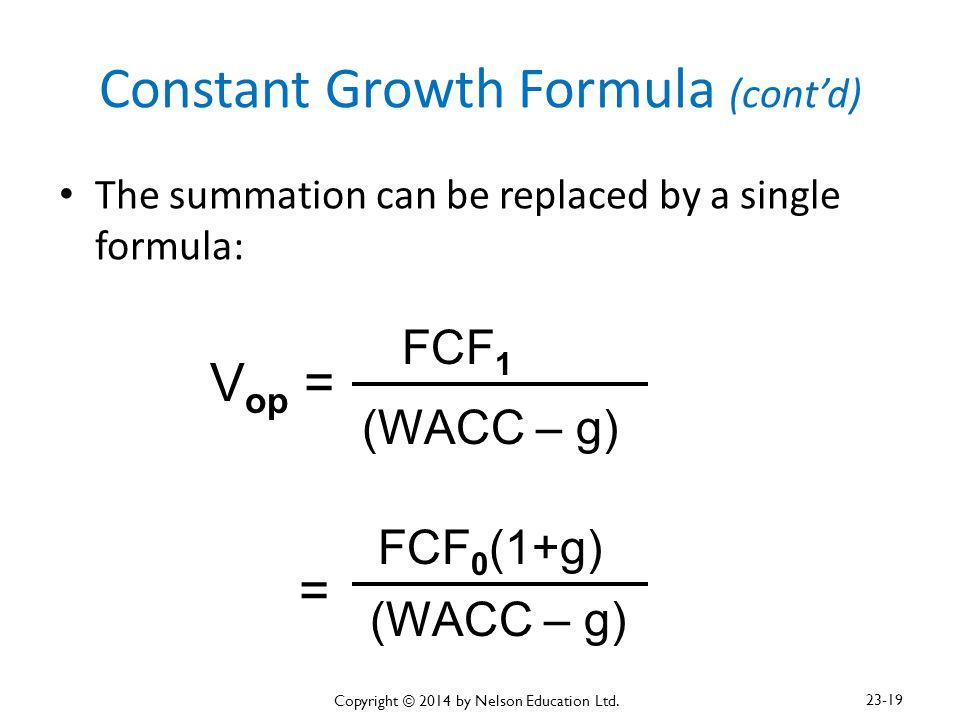 Constant Growth Formula (cont'd)