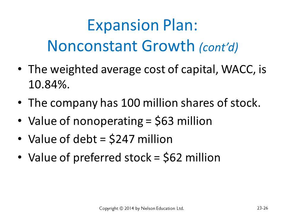 Expansion Plan: Nonconstant Growth (cont'd)