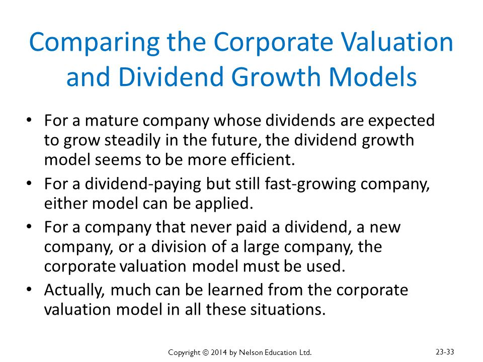 Comparing the Corporate Valuation and Dividend Growth Models