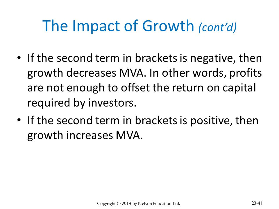The Impact of Growth (cont'd)