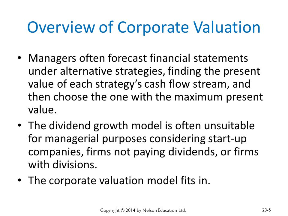 Overview of Corporate Valuation