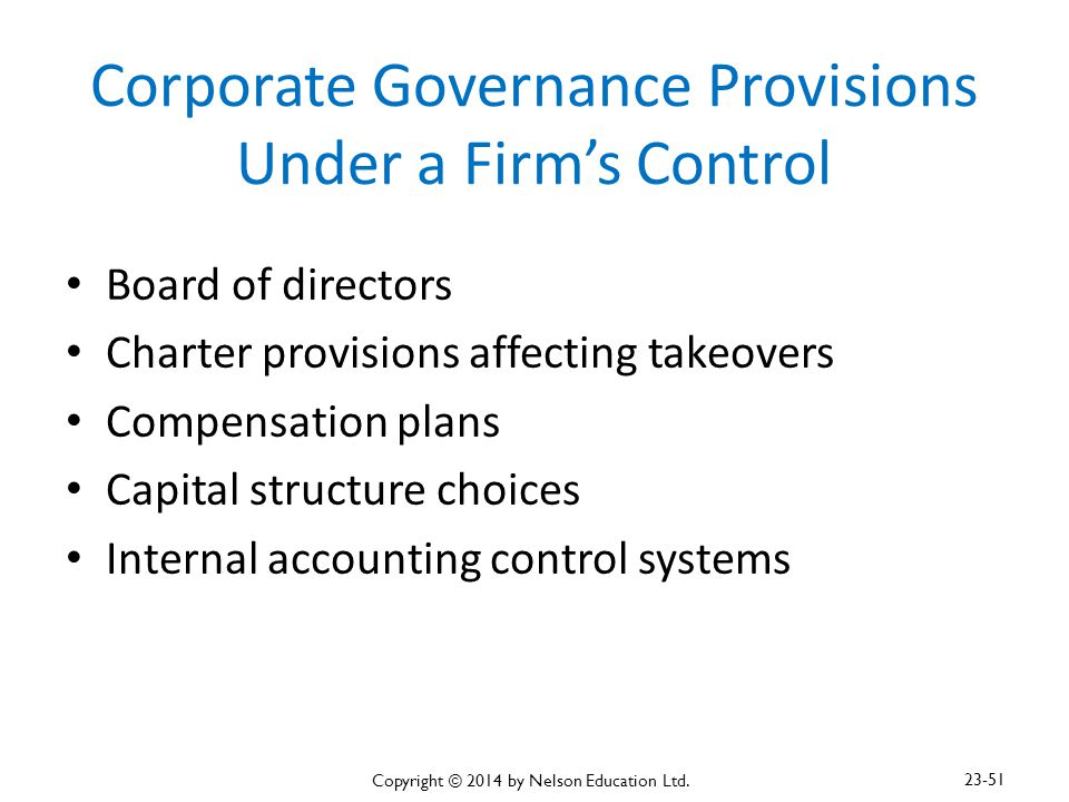 Corporate Governance Provisions Under a Firm's Control