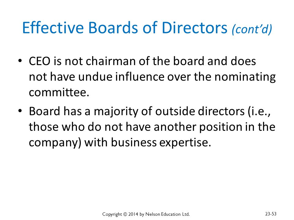 Effective Boards of Directors (cont'd)