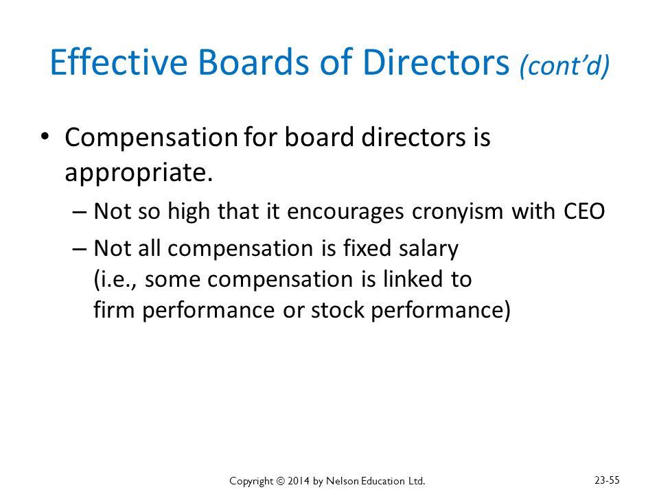 Effective Boards of Directors (cont'd)