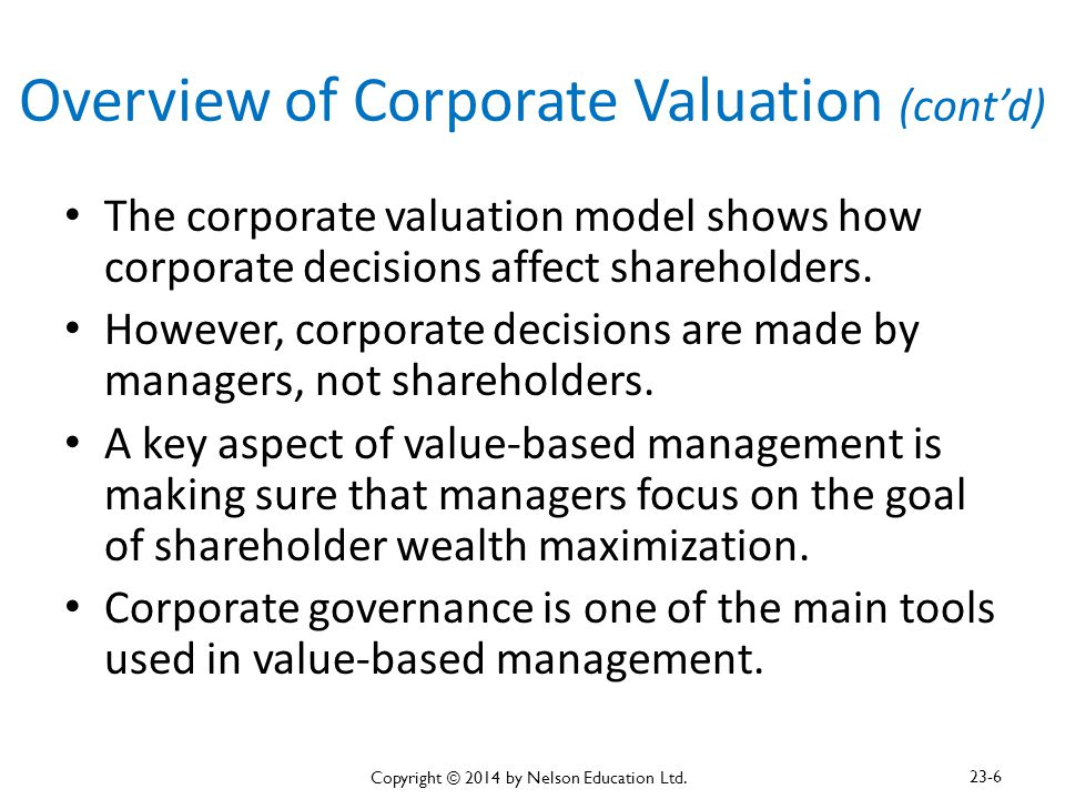 Overview of Corporate Valuation (cont'd)