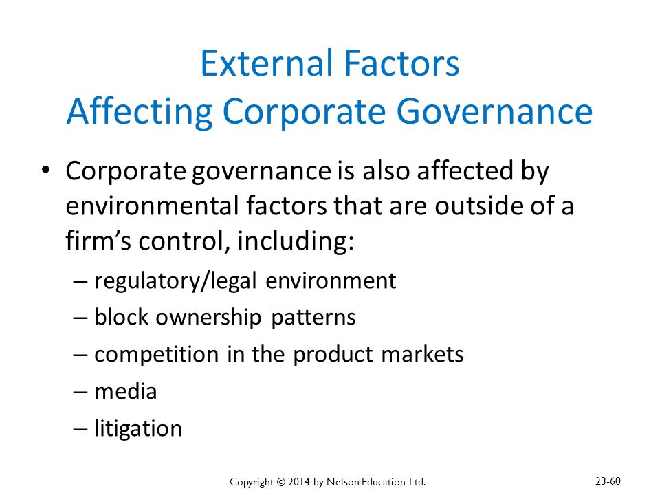 External Factors Affecting Corporate Governance