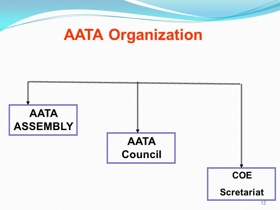 AATA Organization AATA ASSEMBLY AATA Council COE Scretariat 12