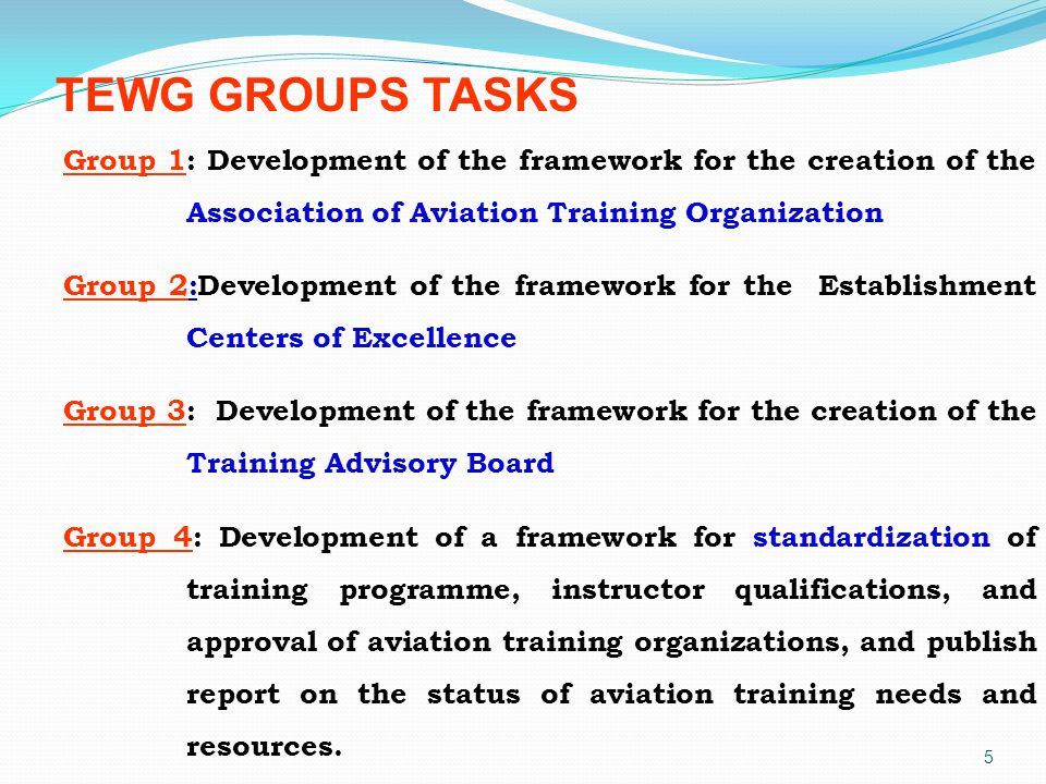 TEWG GROUPS TASKS Group 1: Development of the framework for the creation of the Association of Aviation Training Organization.