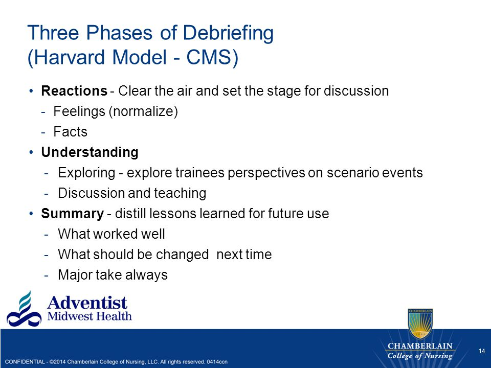 Three Phases of Debriefing (Harvard Model - CMS)