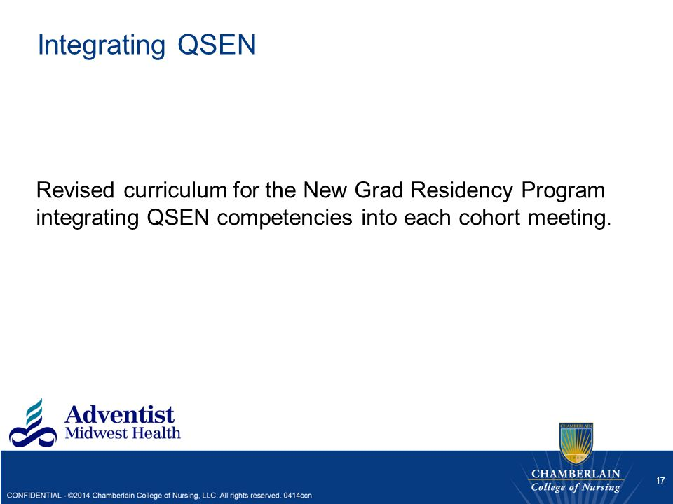 Integrating QSEN Revised curriculum for the New Grad Residency Program integrating QSEN competencies into each cohort meeting.