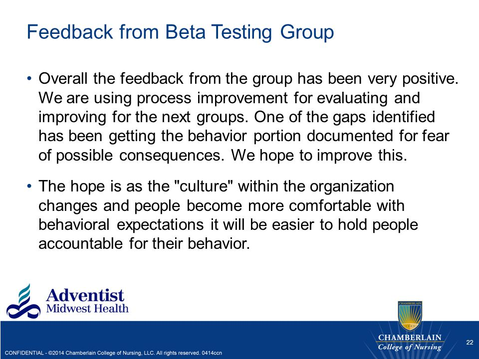 Feedback from Beta Testing Group