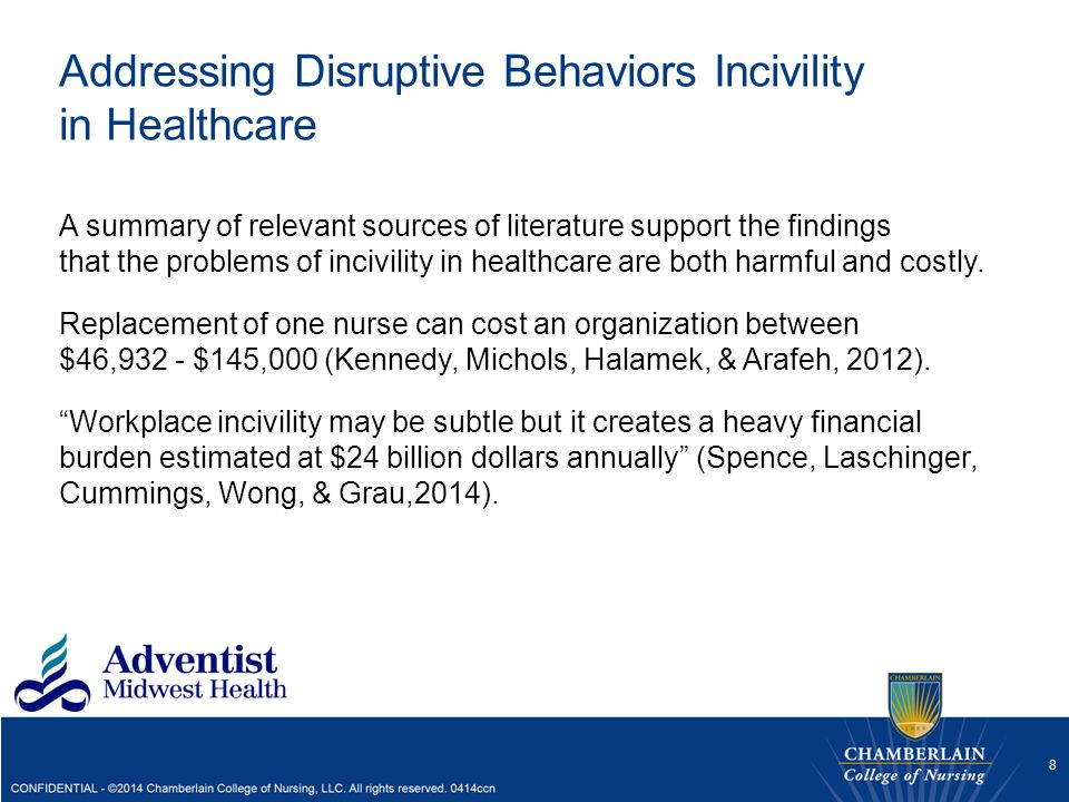 Addressing Disruptive Behaviors Incivility in Healthcare