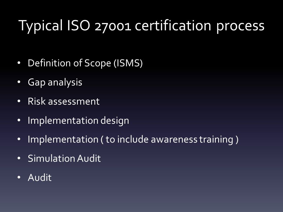 Typical ISO 27001 certification process