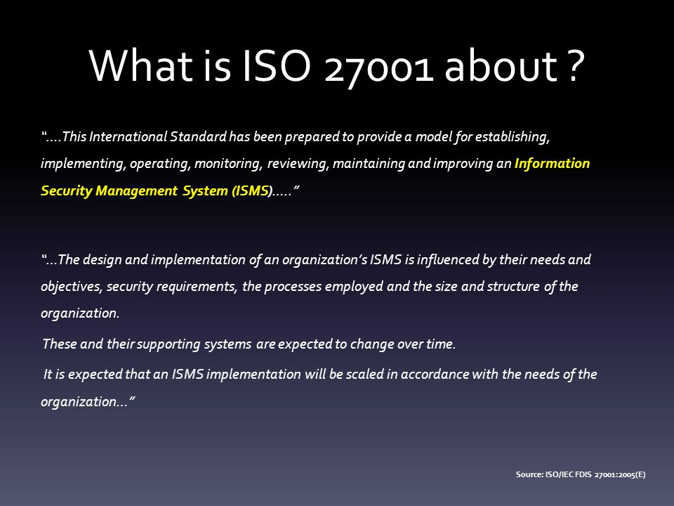 What is ISO 27001 about