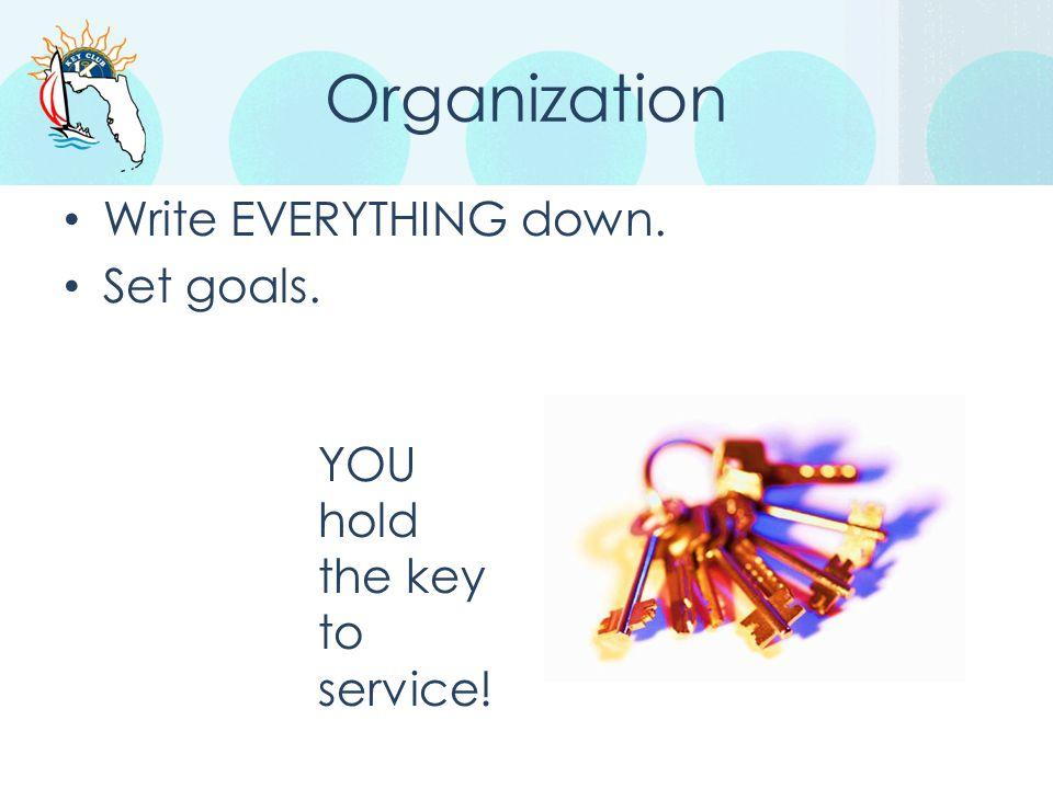 Organization Write EVERYTHING down. Set goals.