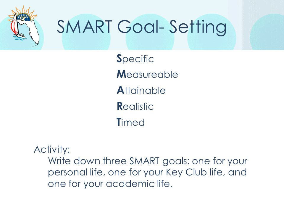 SMART Goal- Setting Specific Measureable Attainable Realistic Timed