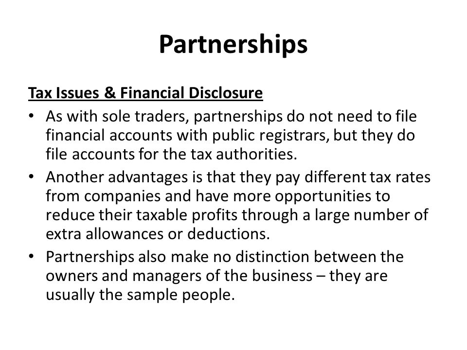 Partnerships Tax Issues & Financial Disclosure
