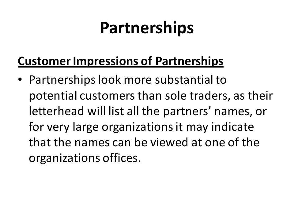 Partnerships Customer Impressions of Partnerships