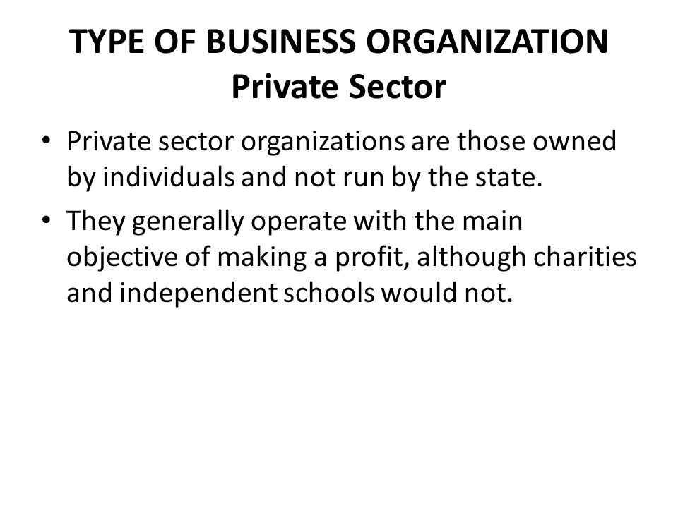 TYPE OF BUSINESS ORGANIZATION Private Sector