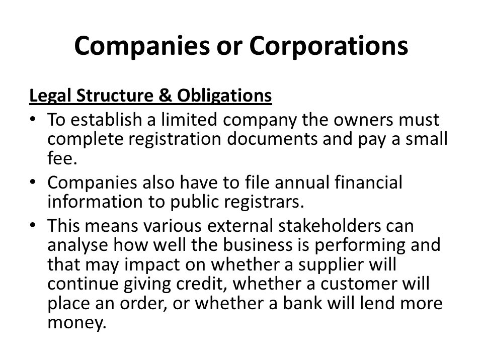 Companies or Corporations