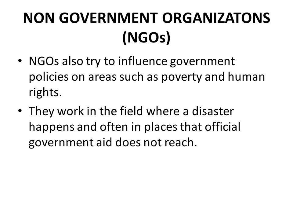 NON GOVERNMENT ORGANIZATONS (NGOs)