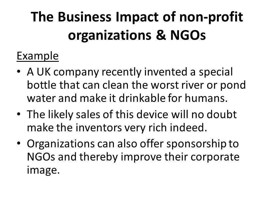 The Business Impact of non-profit organizations & NGOs