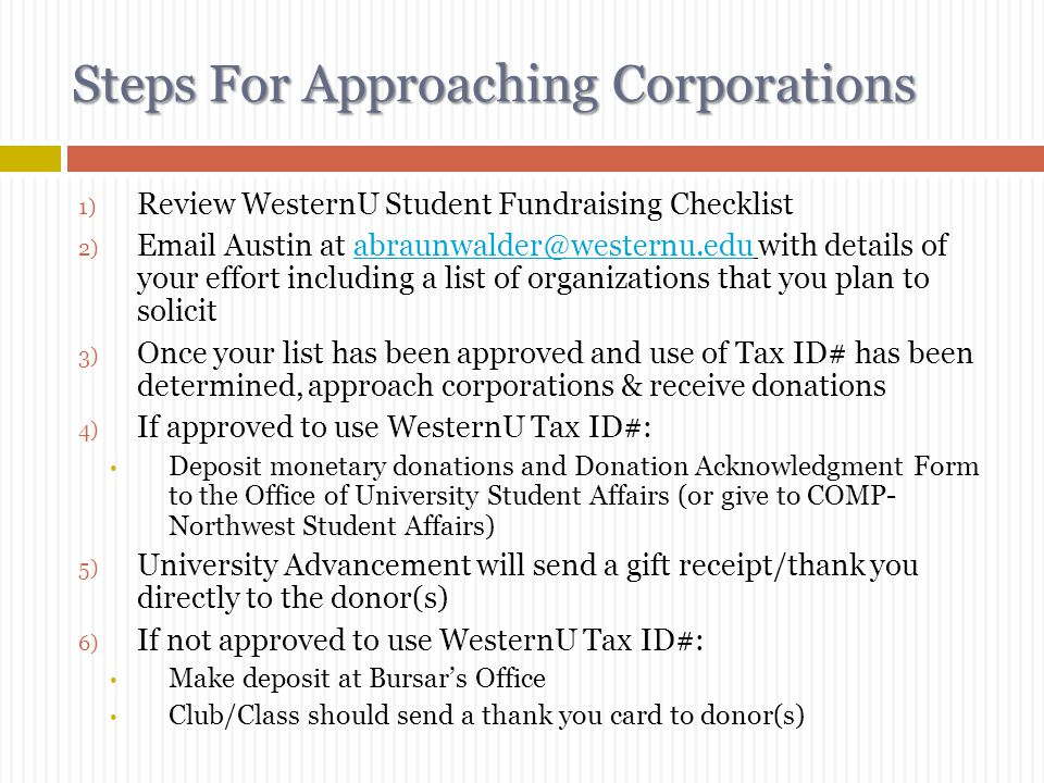 Steps For Approaching Corporations