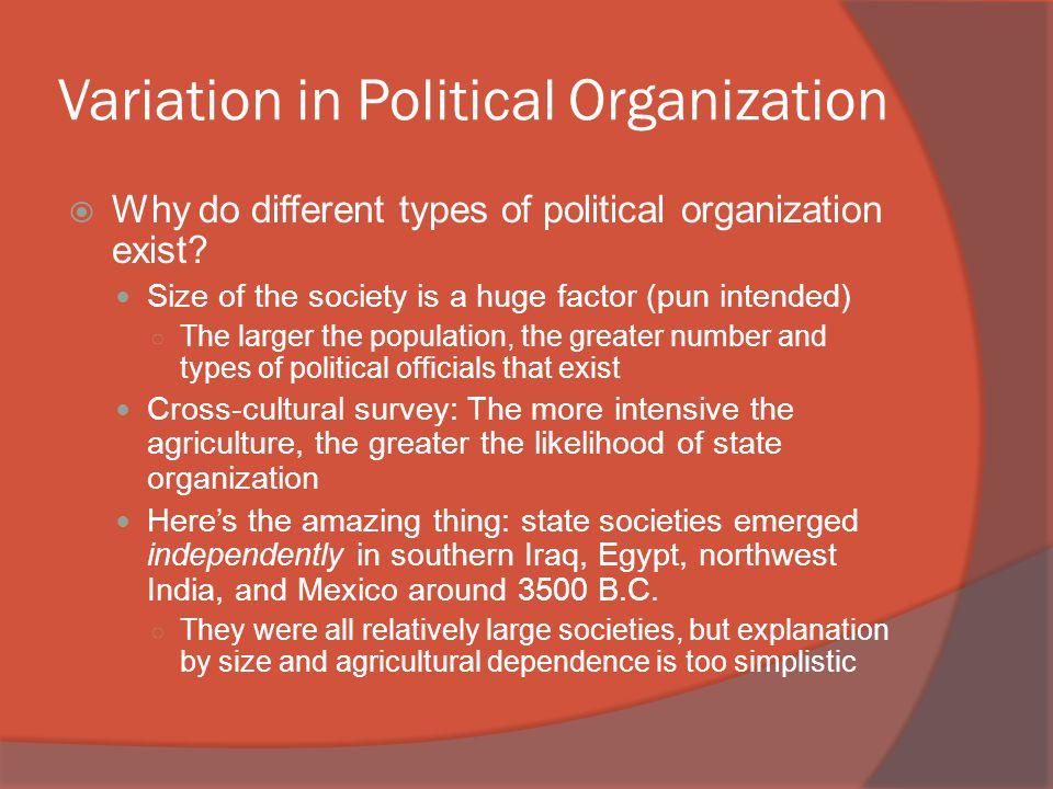 Variation in Political Organization
