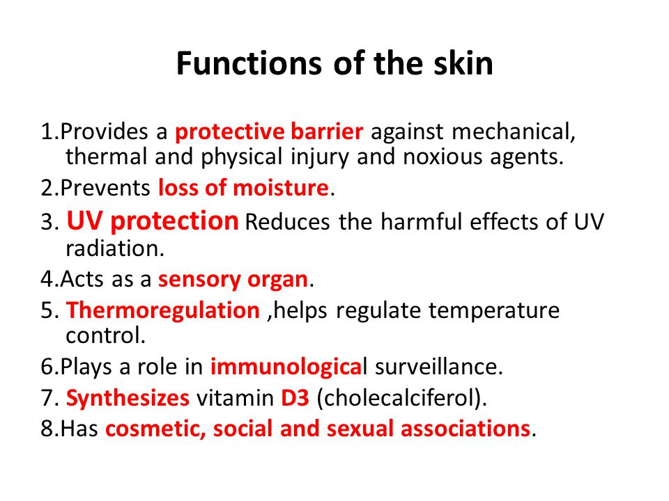 Functions of the skin 1.Provides a protective barrier against mechanical, thermal and physical injury and noxious agents.