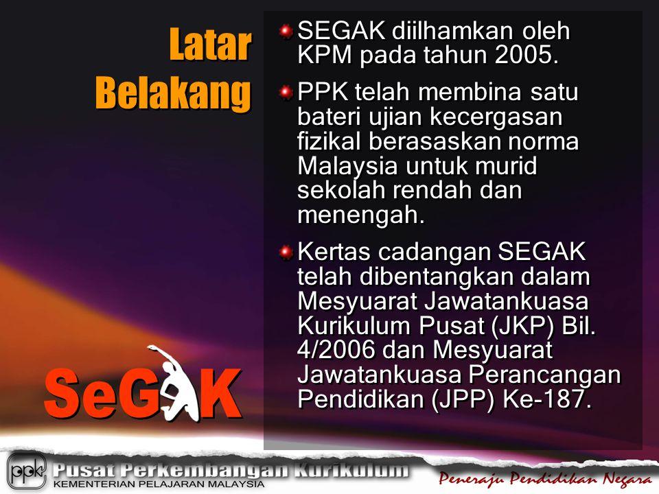 Latar Belakang SeG K SEGAK diilhamkan oleh KPM pada tahun 2005.