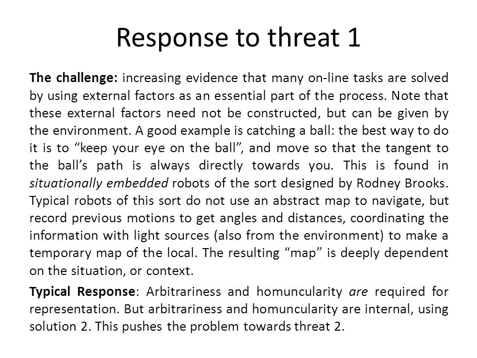 Response to threat 1