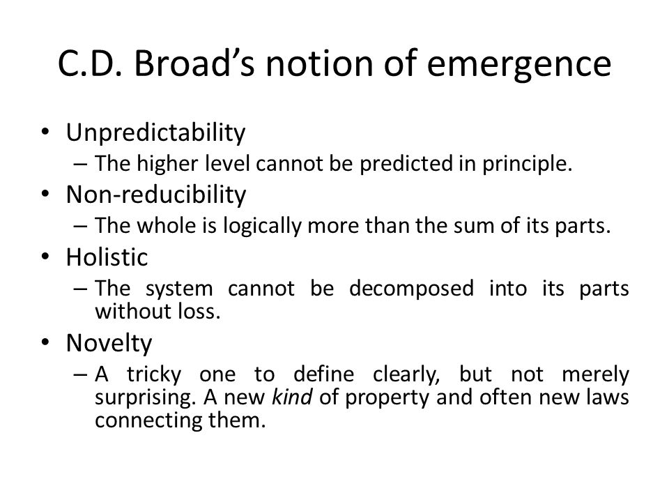 C.D. Broad's notion of emergence