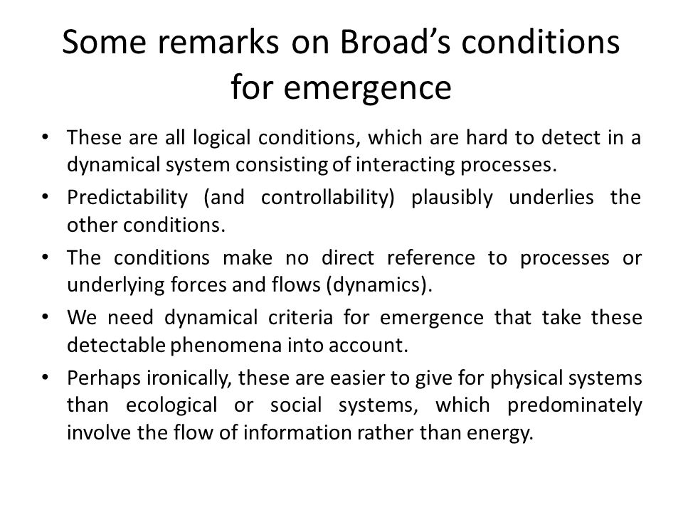 Some remarks on Broad's conditions for emergence