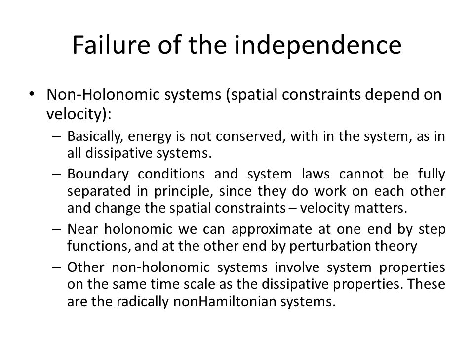 Failure of the independence