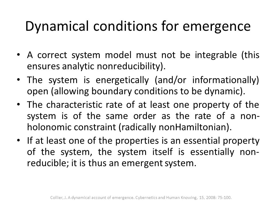Dynamical conditions for emergence