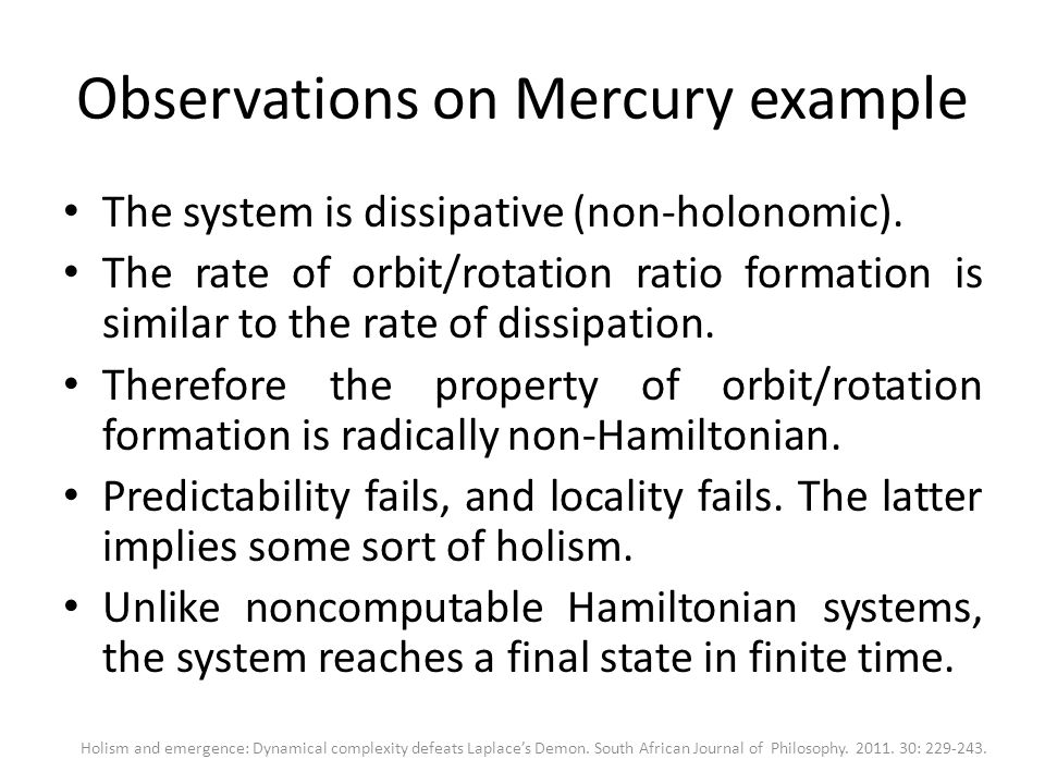 Observations on Mercury example