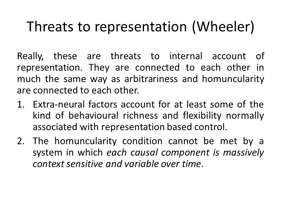 Threats to representation (Wheeler)