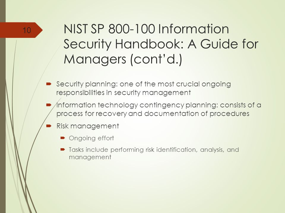 NIST SP 800-100 Information Security Handbook: A Guide for Managers (cont'd.)