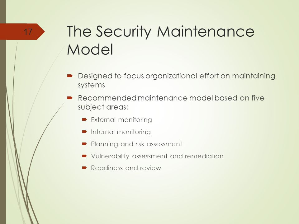 The Security Maintenance Model