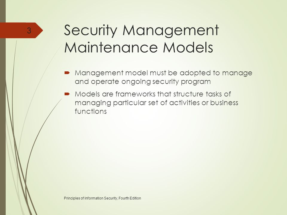 Security Management Maintenance Models