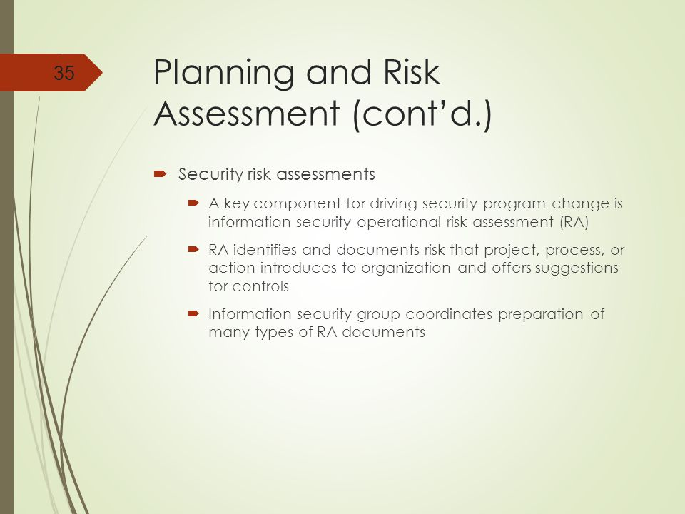 Planning and Risk Assessment (cont'd.)